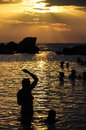 Caribbean sunset sea at with people silhouettes in the lagoon cuba Royalty Free Stock Photos