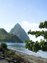 Caribbean view twin piton Soufrier Stock Photography