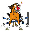Caricatura do showjumping do cavalo Fotos de Stock Royalty Free