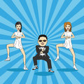 Caricature of gangnam dance cartoon man and two girls show Royalty Free Stock Images