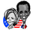 Caricatures - Clinton / Obama Royalty Free Stock Photography