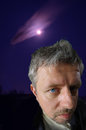 Caricatures of portrait of a man full moon psychological Stock Image