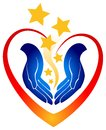 Caring hands logo a with open inside a heart inviting and friendly Stock Images