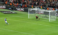 Carling Cup final - Cardiff penalty Stock Image