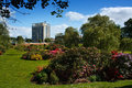 Carlisle civic centre blossom in bitts park with the behind Royalty Free Stock Images