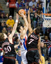Carlos delfino is gurarded by andre miller of the detroit pistons guarded during a game against the philadelphia ers at the the Royalty Free Stock Images