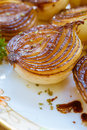 Carmelized onions rich browned golden balsamic roasted in the oven Stock Images