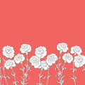 Carnation flower graphic red color seamless background sketch illustration