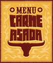 Carne asada, roast meat - barbecue spanish text