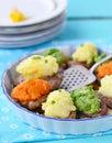 Carne di maiale al forno con le verdure Immagini Stock