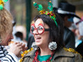 Carneval cologne start of in at on heumarkt with crowd in costumes Royalty Free Stock Photo