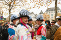 Carneval cologne start of in at on heumarkt with crowd in costumes Royalty Free Stock Photography