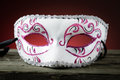 Carneval mask mysterious on wooden table Royalty Free Stock Image