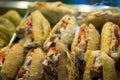 Carnitas tortas in a Mexican market Royalty Free Stock Photo