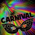 Carnival background with black eye mask on rainbow patterns
