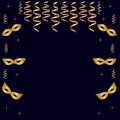 Seamless pattern of golden masks, streamers and stars