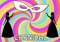 Carnival background with two black lady silhouettes and white face mask on swirly garish area. Vintage old-fashioned figures.