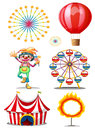 A carnival with clown illustration of on white background Stock Photos