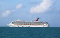 Carnival conquest cruise ship anchors near belize city june and ready to tender visitors to the port on june Stock Photography