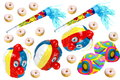 Carnival decorations on white background with donuts Stock Photo