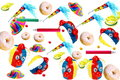 Carnival decorations on white background with donuts Stock Photos