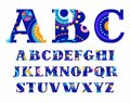 Carnival, English alphabet, vector font, capital letters. Royalty Free Stock Photo