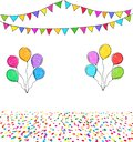 Carnival garland with colorful flags, confetti and balloons isolated on white background. Decorative pennants for party