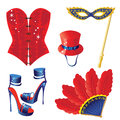 Carnival icons accessories for icon set Royalty Free Stock Photography