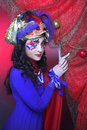 Carnival image portrait of charming brunette in bright artistic Royalty Free Stock Photography