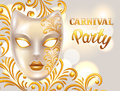Carnival invitation card with venetian mask decorated golden ornaments. Celebration party background