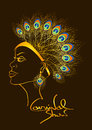 Carnival invitation with woman in peacock feathers headdress outline beautiful Royalty Free Stock Photo