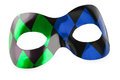 Carnival mask blue and green on a white background Royalty Free Stock Photography