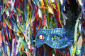 Carnival mask brazilian wish ribbons blue sequined in a background of salvador bahia brazil Stock Photography