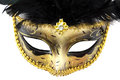 Carnival mask masquerade christmas black gold white background silver new year Royalty Free Stock Photography