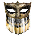 Carnival mask masquerade christmas black gold white background silver new year Royalty Free Stock Photos