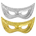 Carnival mask set golden and silver isolated on white background with ps paths Royalty Free Stock Images