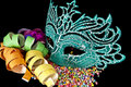 Carnival masks on black  background Royalty Free Stock Images