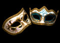 Carnival masks venetian carneval on black background Royalty Free Stock Images