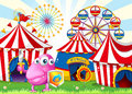 A carnival with a monster holding a shield and a sword illustration of Royalty Free Stock Photography