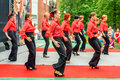 Carnival in moscow russia may participants of annual ermitage garden flamenco dancers may Stock Photos