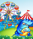 A carnival with a mother monster carrying her baby illustration of Royalty Free Stock Image