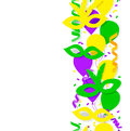 Carnival party or celebration seamless border with confetti masks Royalty Free Stock Photos