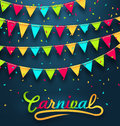 Carnival Party Dark Background with Colorful Bunting Flags