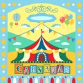 Carnival poster colorful or card template vector illustration Stock Photo