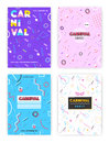 Carnival poster set. abstract memphis 80s, 90s style retro background collection with place for text.