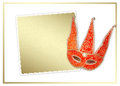 Carnival red mask with old paper for greeting on isolated white background Royalty Free Stock Image