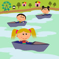 Carnival scene boat ride Royalty Free Stock Images
