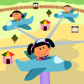 Carnival scene plane ride Royalty Free Stock Photo