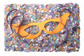 Carnival streamer confetti and mask Royalty Free Stock Photo