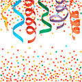 Carnival streamers and confetti background.